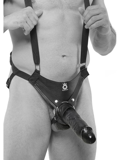 King Cock Hollow Strap On 10 Inch - Svart