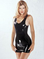 Latex Mini Dress - Black