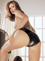Latex Panties Open Crotch - Black